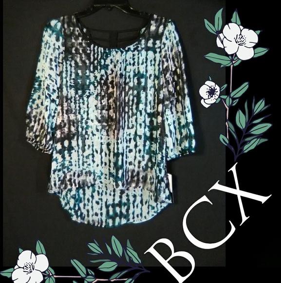 BCX Tops - 3/30🌿Cutout Tunic Style Sheer Blouse
